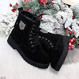 Трендовые повседневные черные женские ботинки из натуральной замши 38-25см, фото 9