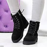 Трендовые повседневные черные женские ботинки из натуральной замши 38-25см, фото 10