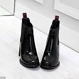 Эффектные черные глянцевые женские ботинки на флисе низкий ход, фото 2