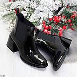 Эффектные черные глянцевые женские ботинки на флисе низкий ход, фото 10