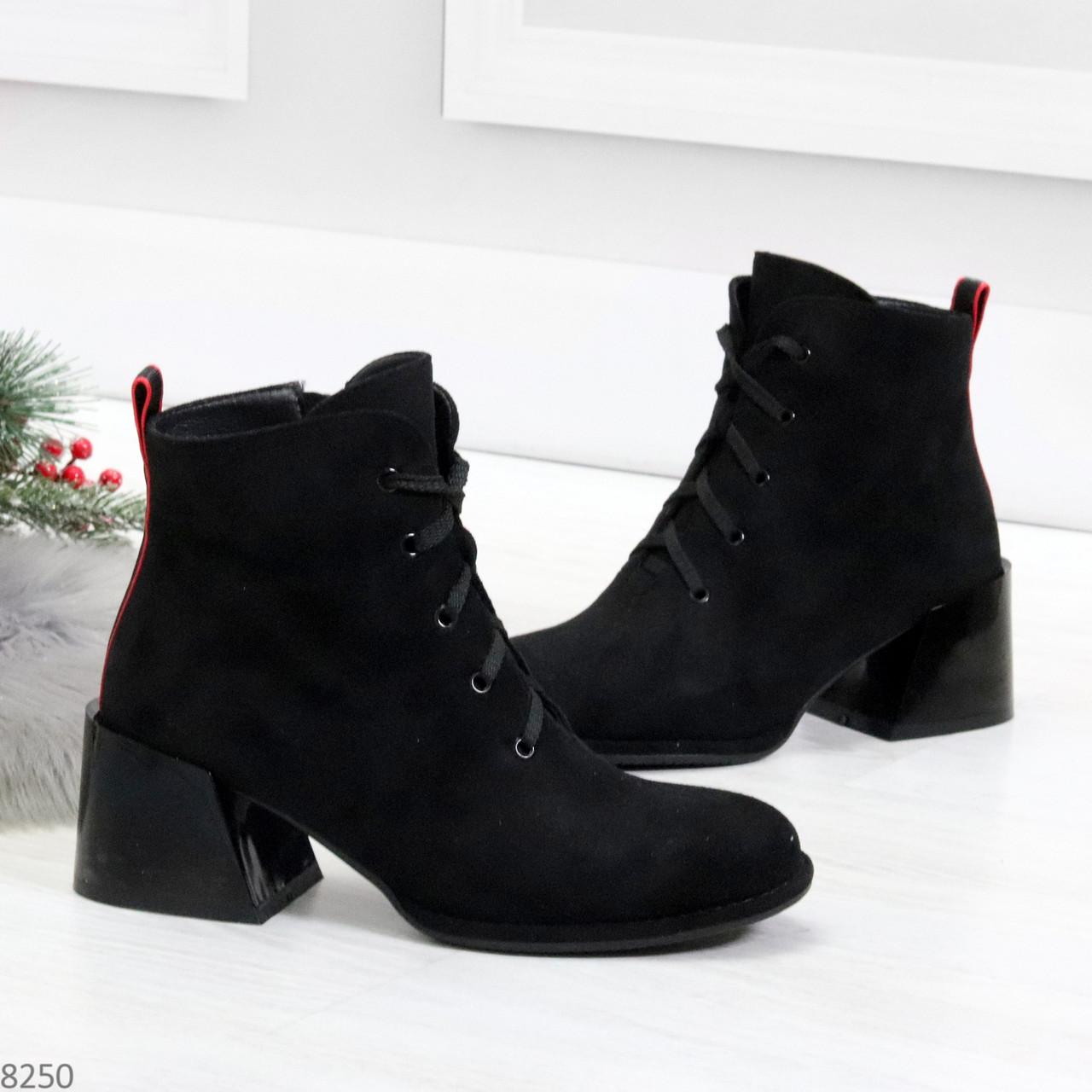 Дизайнерские замшевые черные ботинки ботильоны на удобном каблуке 37-24см