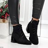 Дизайнерские замшевые черные ботинки ботильоны на удобном каблуке 37-24см, фото 2