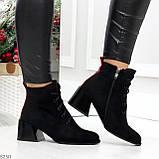 Дизайнерские замшевые черные ботинки ботильоны на удобном каблуке 37-24см, фото 3