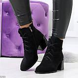 Дизайнерские замшевые черные ботинки ботильоны на удобном каблуке 37-24см, фото 4