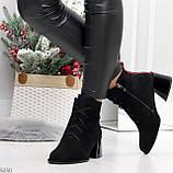 Дизайнерские замшевые черные ботинки ботильоны на удобном каблуке 37-24см, фото 7