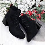 Дизайнерские замшевые черные ботинки ботильоны на удобном каблуке 37-24см, фото 8