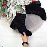 Дизайнерские замшевые черные ботинки ботильоны на удобном каблуке 37-24см, фото 9