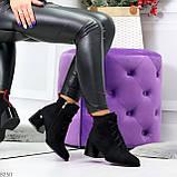 Дизайнерские замшевые черные ботинки ботильоны на удобном каблуке 37-24см, фото 10