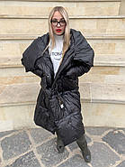 Чорне пальто пуховик Tongcoi 7007-B701, фото 2