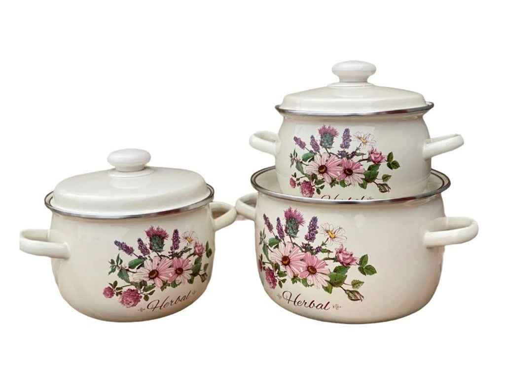 Набор эмалированной посуды Idilia Гербал молочный 3 предмета (№926)