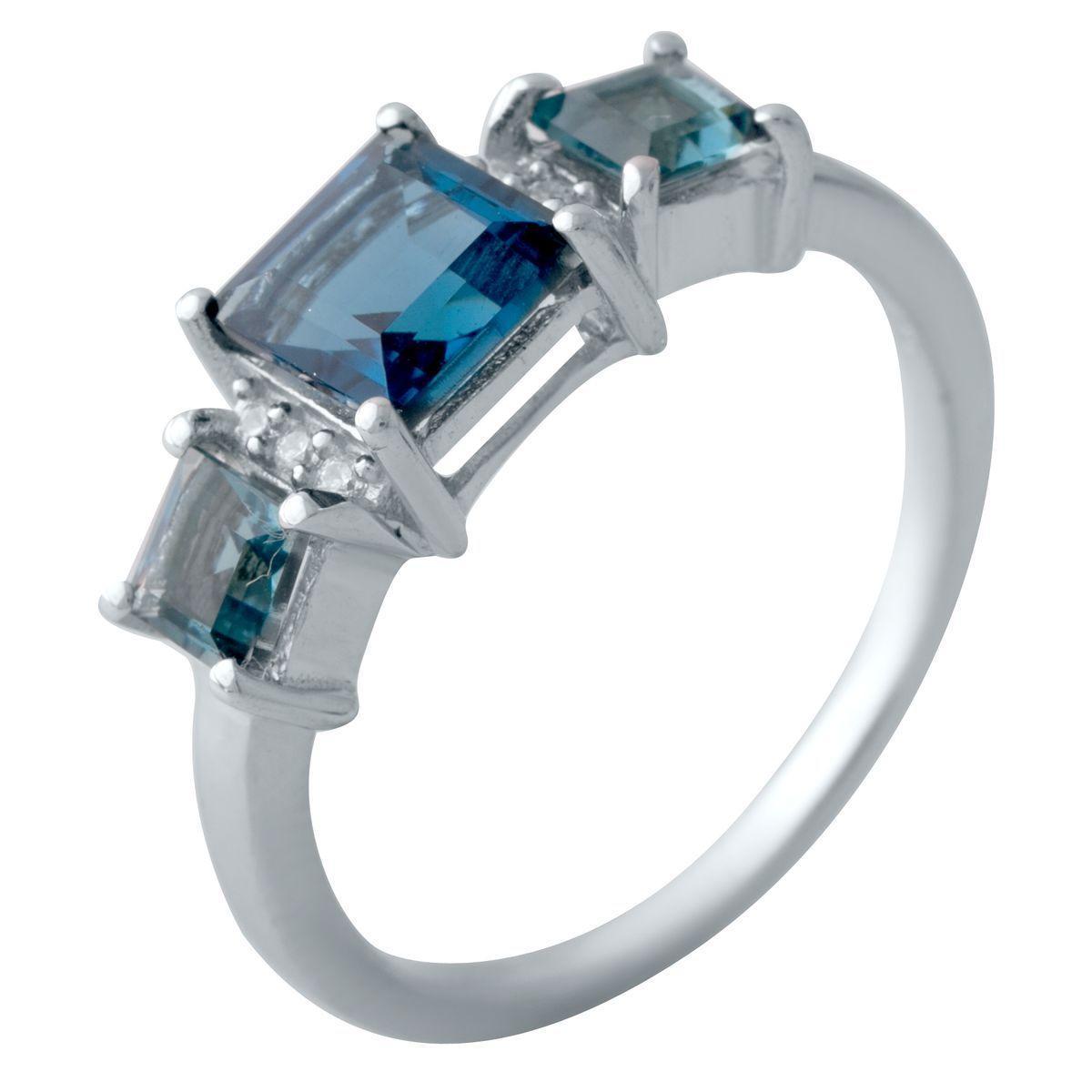 Серебряное кольцо DreamJewelry с натуральным топазом Лондон Блю (2019947) 18 размер