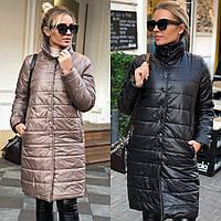 Пальто - куртка женская на кнопках, стеганая плащевка + синтепон, весна-осень