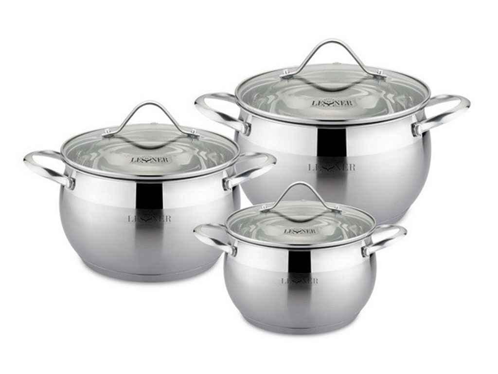 Набор посуды из нержавеющей стали Lessner 3 предмета 2,2л/4л/7л (55868)
