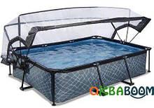 Каркасный бассейн круглый Exit с куполом 300х200х65 камень, Каркасные бассейны, Круглая, 300 х 200 х 66 см,