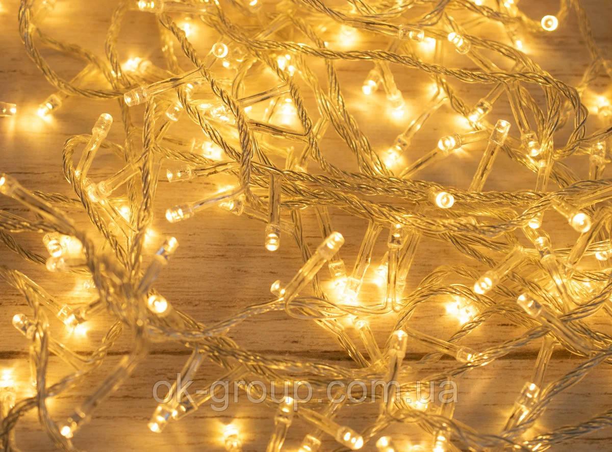 Гірлянда нитка 16м 200LED теплий білий ( жовтий ) прозорий провід новорічна