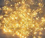 Гірлянда нитка 16м 200LED теплий білий ( жовтий ) прозорий провід новорічна, фото 2