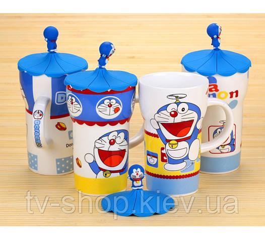 """Кружка с силиконовой крышкой  """"Cat Doraemon"""",650 мл"""
