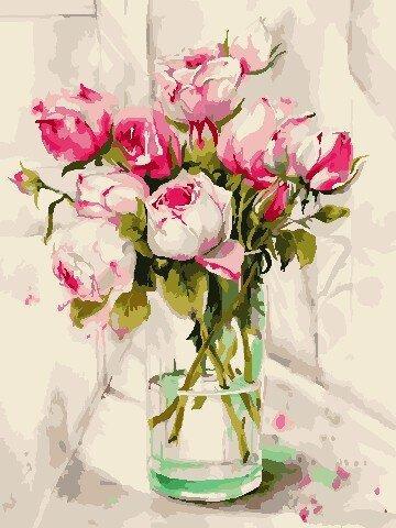 AS0785 Набор для рисования по номерам Акварельные розы, Без коробки