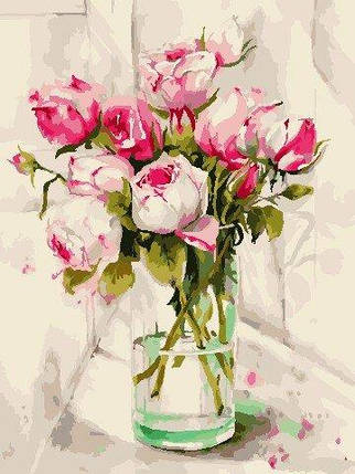 AS0785 Набор для рисования по номерам Акварельные розы, Без коробки, фото 2