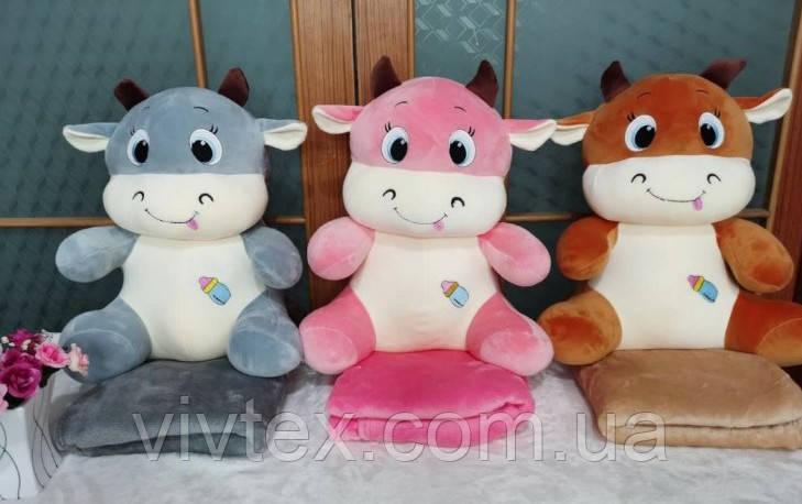 Плед детский + игрушка коровка и подушка 3в1 оптом