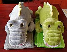 Плед іграшка крокодил і подушка 3в1 оптом