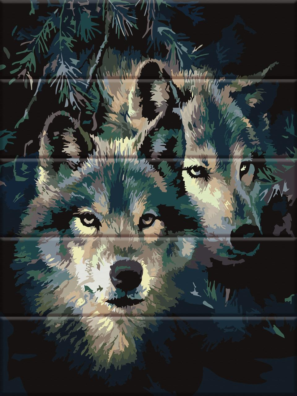 ASW092 Раскраска по номерам на деревянной основе Влюблённые волки, В картонной коробке