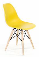 Стул дизайнерский Nik N  желтый 11 на деревянных буковых ножках, фото 1