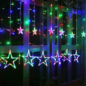 Новогодняя фигурная гирлянда 2.5М (разноцветная - RGB) 6 RGB звезд   3890