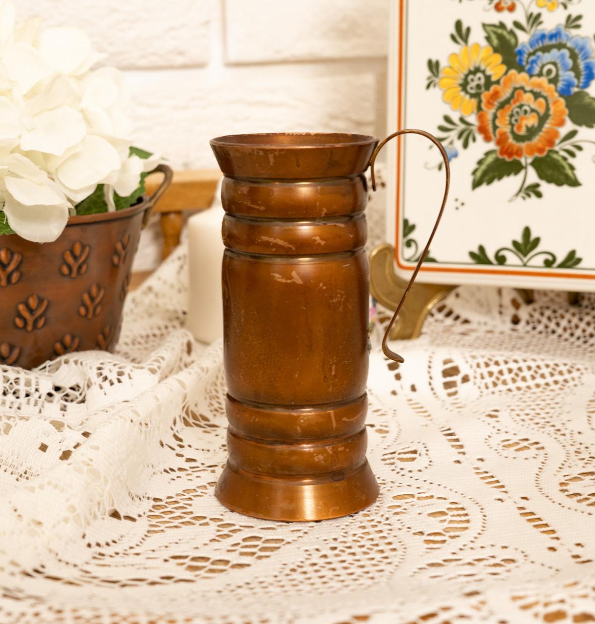 Старый медный кувшинчик, медная ваза, медный декор, Германия, 13 см