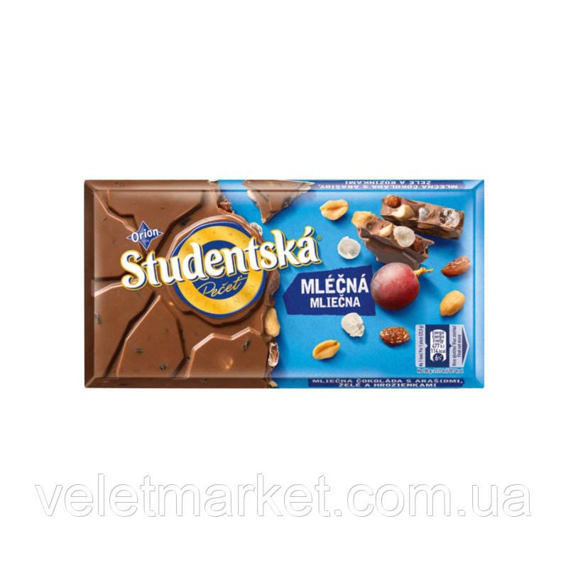 Шоколад молочный Studentska с арахисом и изюмом, 180 г