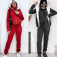 Костюм спортивный 3-ка, женский, теплый, с начесом, свитшот + штаны +жилетка на меху, прогулочный, модный