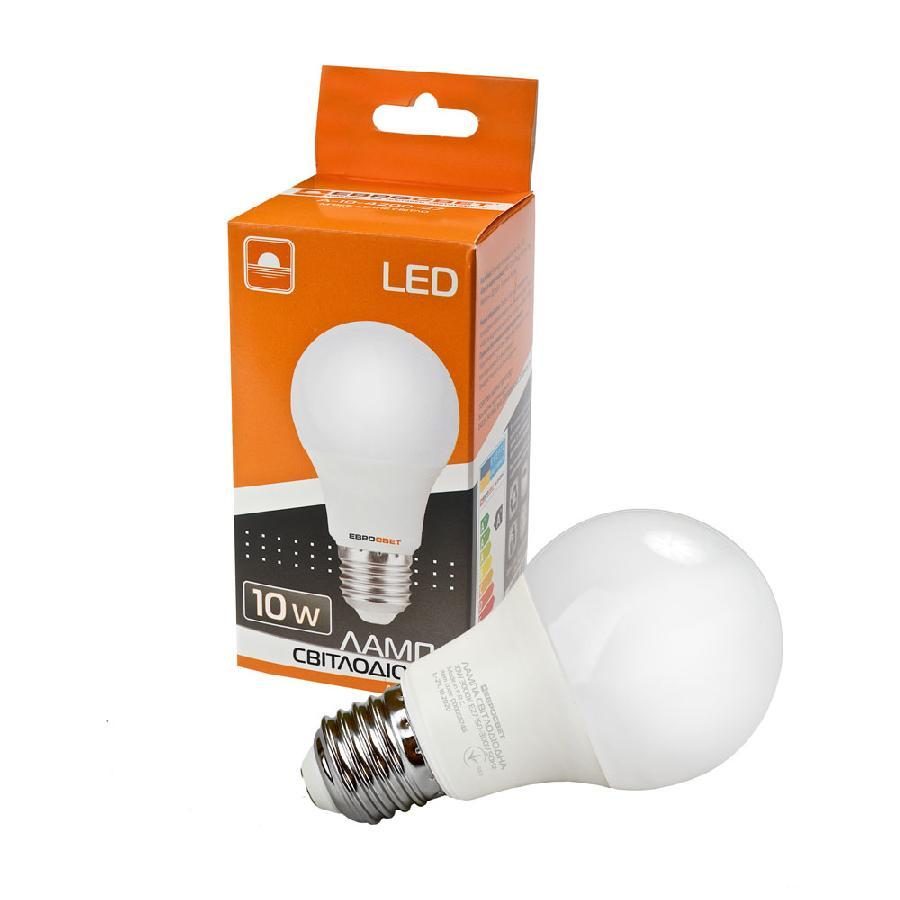 Лампа светодиодная ЕВРОСВЕТ 10Вт 3000К A-10-3000-27 Е27