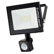 Прожектор светодиодный EVROLIGHT 20Вт с датчиком движения EV-20D 6400К