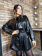 Женское платье-рубашка из эко-кожи больших размеров, фото 1