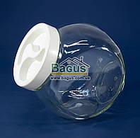 Банка неваляшка стеклянная для сыпучих 1,75 л БЕЛАЯ КРЫШКА, фото 1