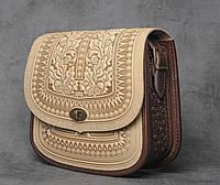 """Авторская кожаная сумка """"Дубок"""" ручной работы, большая бежевая сумка из натуральної кожи, фото 1"""