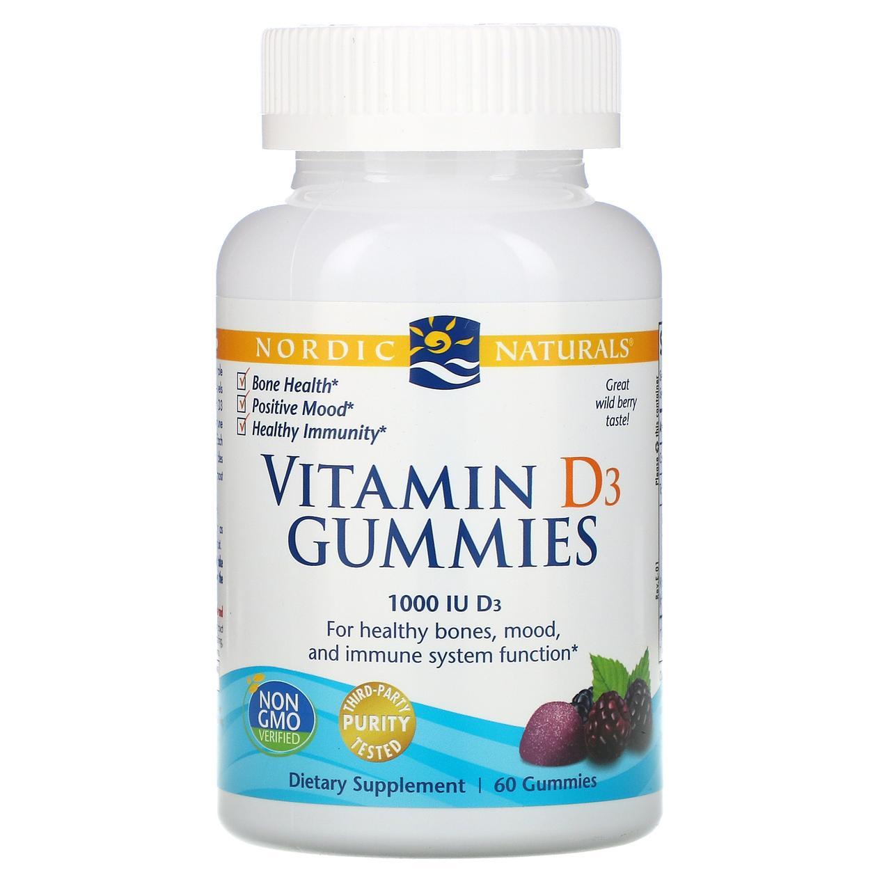 Жевательные таблетки с витамином D3, со вкусом лесных ягод, 1000 МЕ, 60 шт., Nordic Naturals