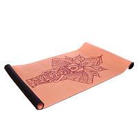 Йога коврик замшевый каучуковый двухслойный 3мм Record персиковый FI-5662-62