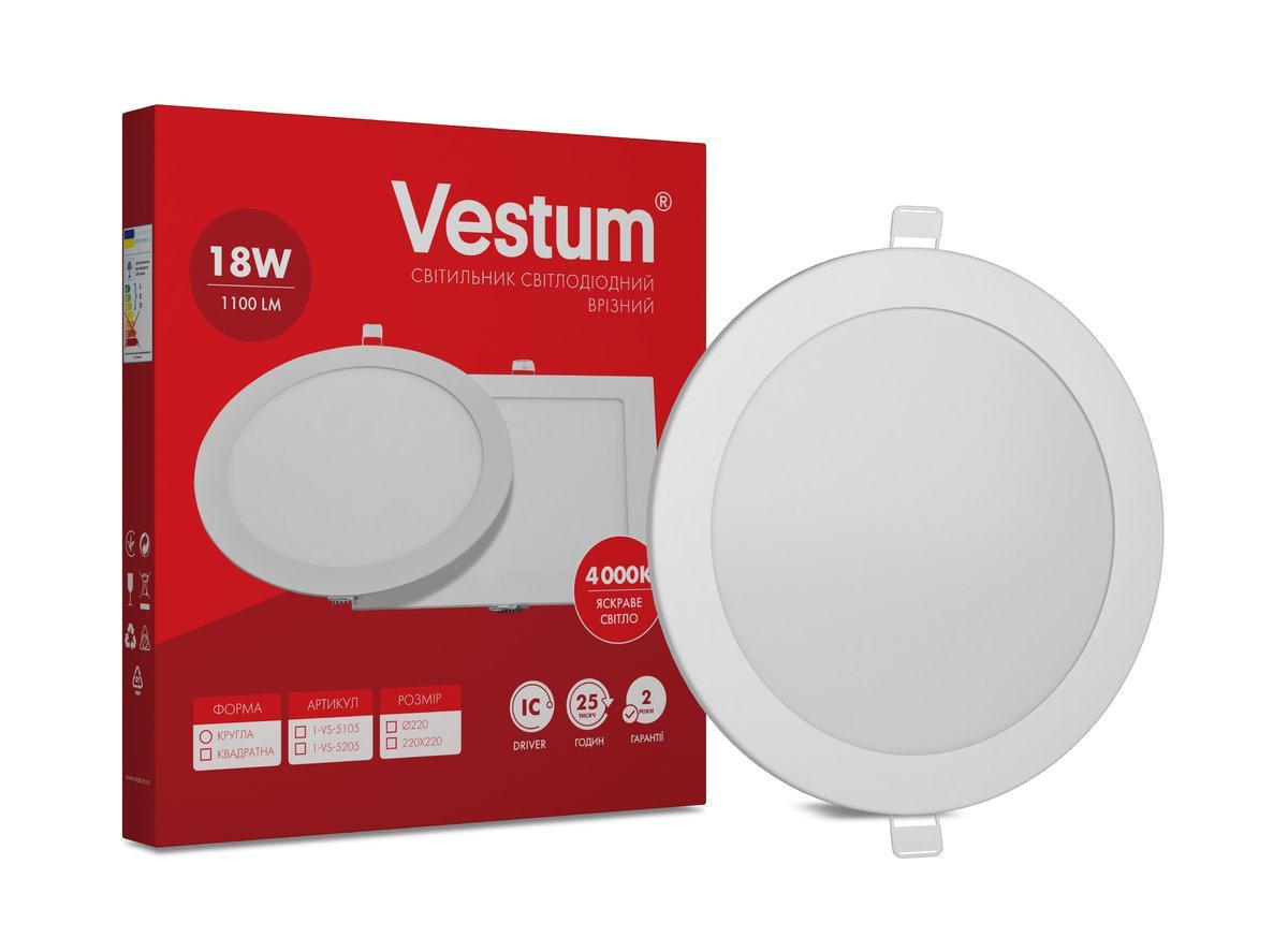 Светильник LED врезной круглый 18W 4000K 220V ТМ Vestum