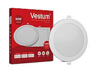 Круглый светодиодный врезной светильник Vestum 24W 6000K 220V 1-VS-5106, фото 1