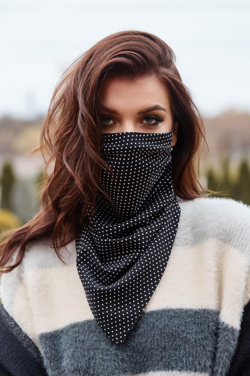 Шарф-маска двухсторонняя чёрная в горох