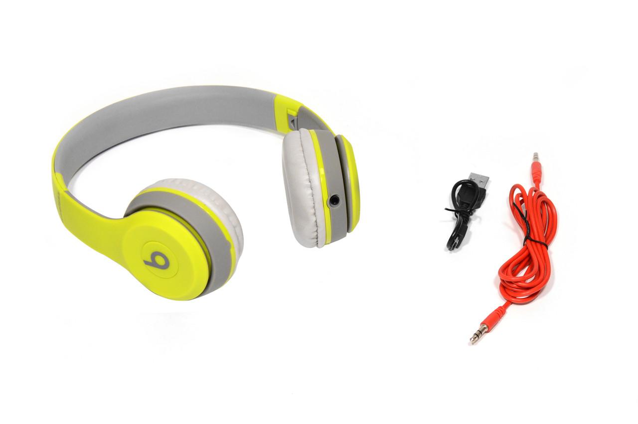 Наушники беспроводные Beats Studio TM-019 Bluetooth (by Dr. Dre) серо-зелёные