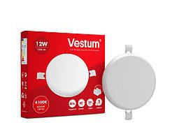 """Круглый светодиодный врезной светильник """"без рамки"""" Vestum 12W 4100K 1-VS-5503"""