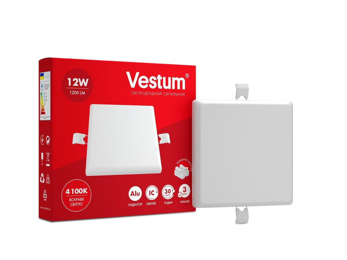 """Квадратный светодиодный врезной светильник """"без рамки"""" Vestum 12W 4100K 1-VS-5603"""