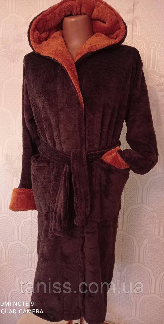 Теплый махровый  подростковый халат, на запах, под пояс, с капюшоном р. 11-12,13-15 лет, коричнев