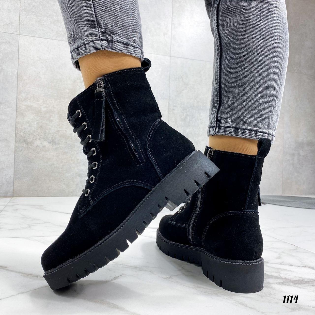 Зимние ботинки на шнуровке натуральная замша