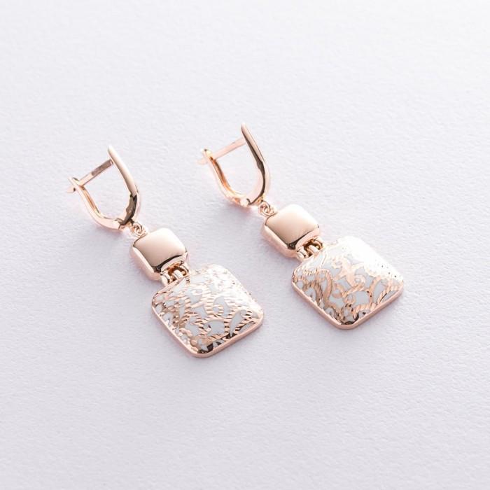 Золотые серьги с эмалью с05454