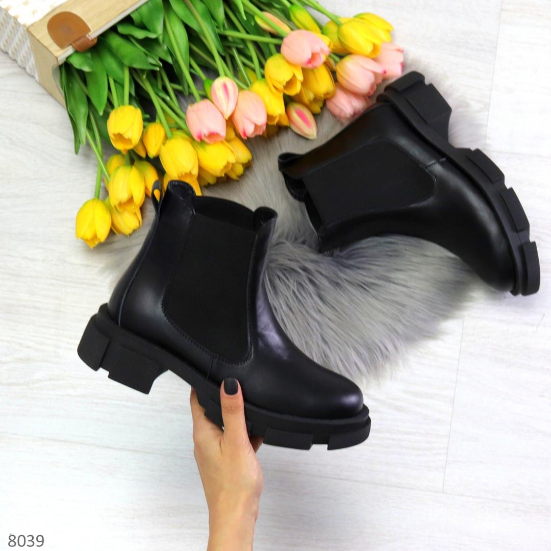 Модные черные женские ботинки челси из натуральной кожи с резиновыми вставками 40-25 41-25,5см
