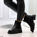 Модные черные женские ботинки челси из натуральной кожи с резиновыми вставками 40-25 41-25,5см, фото 2
