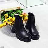 Модные черные женские ботинки челси из натуральной кожи с резиновыми вставками 40-25 41-25,5см, фото 3